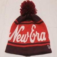 NEWERA ポンポンニット帽 (バーガンディーXスカーレットXホワイト)