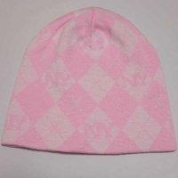 NYロゴアーガイルニットビーニー(ニット帽)(ピンク)