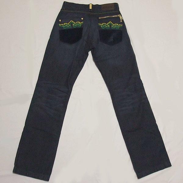 画像1: CROWN HOLDER(クラウンホルダー)バック刺繍デニムパンツ(インディゴXグリーン)