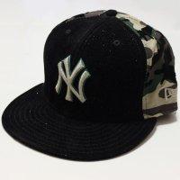 NEWERA (ニューエラ)59FIFTY MLB NEW YORK YANKEESニューヨークヤンキース (ブラックラメ X カモフラージュ)