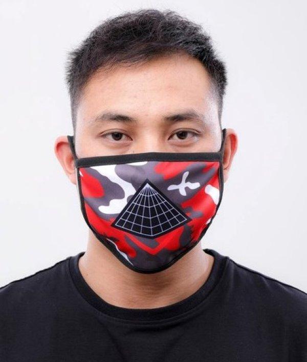 画像1: BLACK PYRAMID(ブラックピラミッド)Pyramid Logo Face Mask red (Y7162565) (フェイスマスク)
