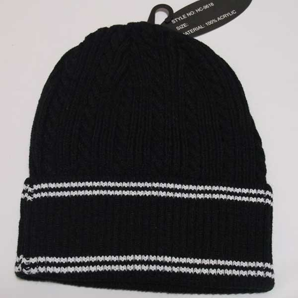 画像2: HANA ニットビーニー(ニット帽)(ブラック-ライン)