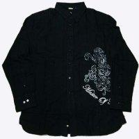KARL KANI グリッタープリントシャツ(ブラック-シルバー)