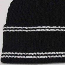 他のアングル写真3: HANA ニットビーニー(ニット帽)(ブラック-ライン)
