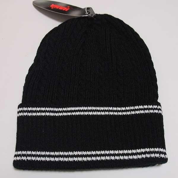 画像1: HANA ニットビーニー(ニット帽)(ブラック-ライン)