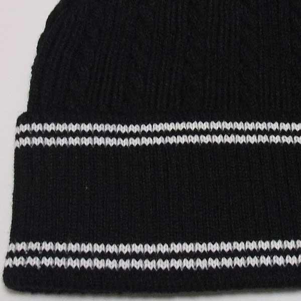 画像3: HANA ニットビーニー(ニット帽)(ブラック-ライン)