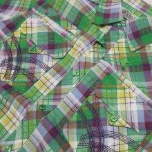 他のアングル写真1: 【セール30%OFF】RAW BLUE S/Sプレイド刺繍シャツ(グリーンコンボ)